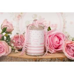 Αρωματικό κερί σε βάζο ροζ ριγέ-πουά
