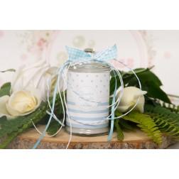 Αρωματικό κερί σε βάζο σιέλ ριγέ-πουά