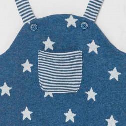 Φορμάκι σαλοπέτα με σκουφάκι, σχέδιο αστέρια - Νεογέννητο αγόρι