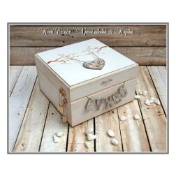 Χειροποίητο Ξύλινο Κουτί Ευχών ''Χρυσά κλαδιά & Καρδιά''