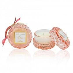 Αρωματικό κερί στρογγυλό ροζ απαλό γυάλινο rose
