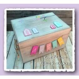 """Ξύλινο Κουτί Βάπτισης """"Birds & Colours"""""""