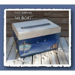 """Ξύλινο Κουτί Βάπτισης """"My Boat"""""""
