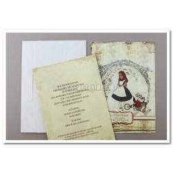 """Προσκλητήριο Βάπτισης """"Η Αλίκη στη Χώρα των Θαυμάτων"""" 1509"""