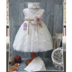 Βαπτιστικό Φόρεμα με τούλι και δαντέλα