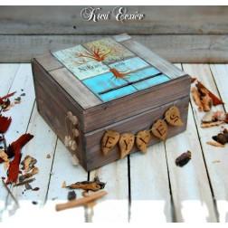 Χειροποίητο Ξύλινο Κουτί Ευχών ''Gold & Bronze'' Δέντρο