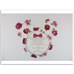 """Προσκλητήριο Βάπτισης """"Floral Minnie"""""""