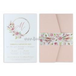 """Προσκλητήριο Βάπτισης """"Dusty Pink Flowers"""" 1796"""