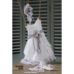 Βαπτιστικό Φόρεμα με λευκή δαντέλα