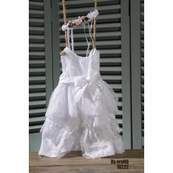 Βαπτιστικό Φόρεμα τούλινο με φιόγκο