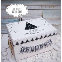"""Ξύλινο Κουτί Βάπτισης """"Be Brave Little One"""""""