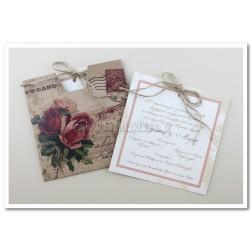 """Προσκλητήριο Γάμου """"Post Card""""  7509"""