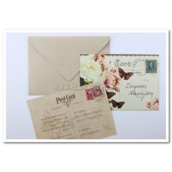 """Προσκλητήριο Γάμου """"Post Card"""" 7515"""