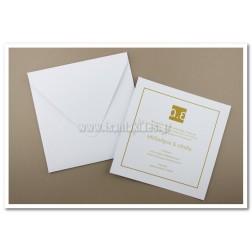 Προσκλητήριο Γάμου Λευκό & Χρυσό 7519
