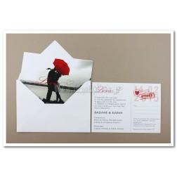 """Προσκλητήριο Γάμου """"Post Card"""" 7528"""
