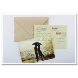 """Προσκλητήριο Γάμου """"Post Card"""" 7529"""