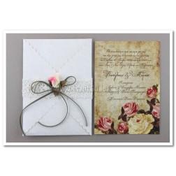 """Προσκλητήριο Γάμου """"Vintage Roses"""" 7540"""