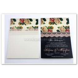 """Προσκλητήριο Γάμου """"Μαυροπίνακας & Λουλούδια"""""""