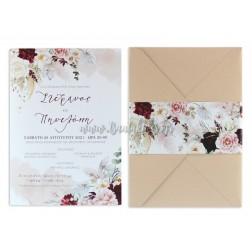 """Προσκλητήριο Γάμου """"Burgundy & Pink Flowers"""" 7736"""