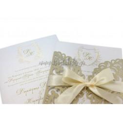 """Προσκλητήριο Γάμου """"Golden Wreath"""" 7750"""