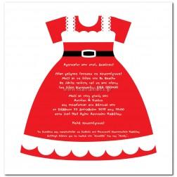 """Χριστουγεννιάτικο Προσκλητήριο Βάπτισης """"Κόκκινο Φορεματάκι"""" B005"""