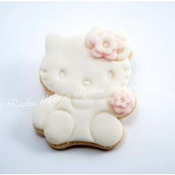 """Μπισκότο Βάπτισης Βουτύρου """"Hello Kitty"""" Λευκό/Ροζ"""