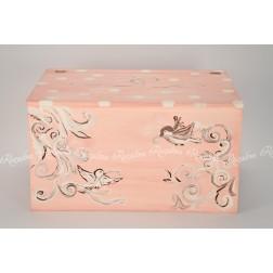 """Ξύλινο Κουτί Βάπτισης Ζωγραφισμένο """"Πουλάκια"""""""