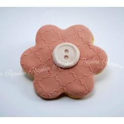 """Μπισκότο Βάπτισης Βουτύρου """"Λουλούδι & Κουμπί"""""""