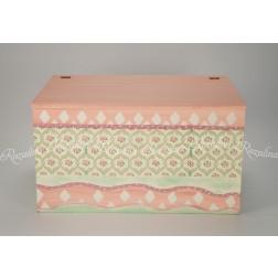"""Ξύλινο Κουτί Βάπτισης Ζωγραφισμένο """"Floral"""""""