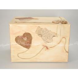 """Ξύλινο Κουτί Βάπτισης Vintage """"Καρδιά"""""""