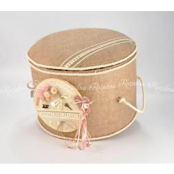 Κουτί Σκαμπό Βάπτισης από Λινάτσα