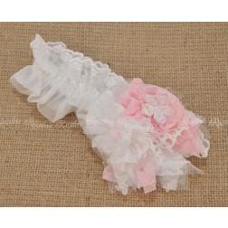 Χειροποίητη Κορδέλα Μαλλιών σε Λευκό-Ροζ για Βάπτιση