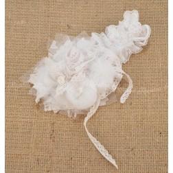 Χειροποίητη Κορδέλα Μαλλιών σε Λευκό Χρώμα για Βάπτιση