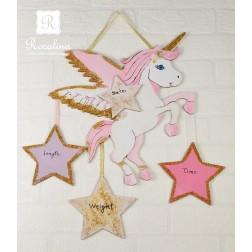 Χειροποίητο Ξύλινο Δώρο Μονόκερος για Νεογέννητο Κοριτσάκι