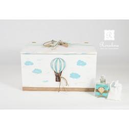 Ξύλινο Κουτί Βάπτισης Αερόστατο