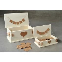 Ξύλινα Κουτιά Ευχών με Καρτελάκια, Δύο Μεγέθη