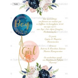 """Προσκλητήριο Βάπτισης """"Balloons"""" TS202"""