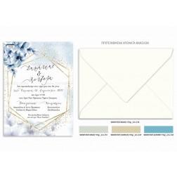 """Προσκλητήριο Γάμου """"Dusty Blue Flowers"""" TS328"""